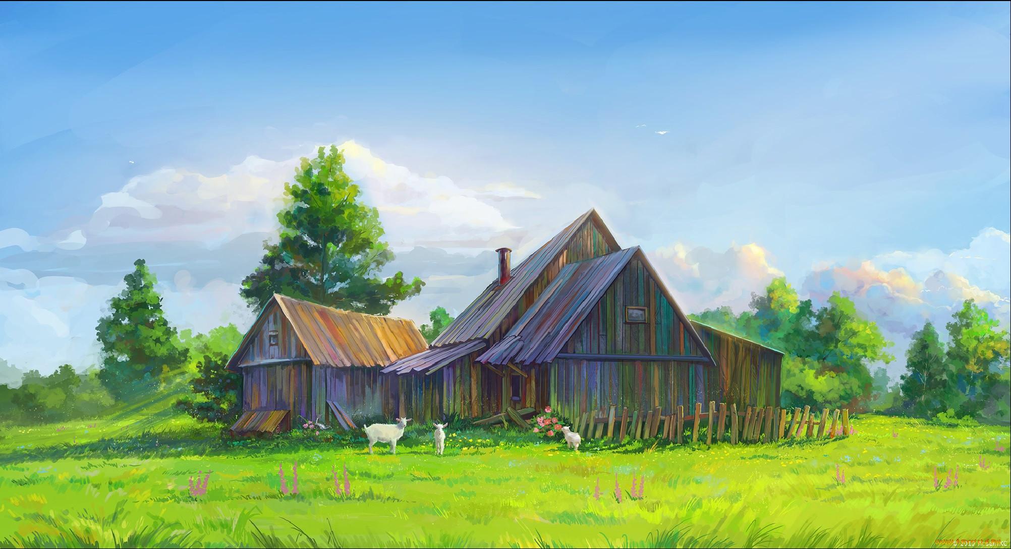 хотели картинки домика в деревне на заднем плане студент